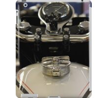 View of a classic vintage motorbike petrol tank and speedometer. iPad Case/Skin