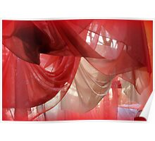 drapery of colored silks Poster