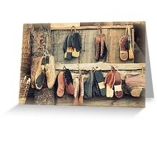 old wooden clogs Greeting Card