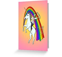 Zombie Riding A Unicorn Greeting Card