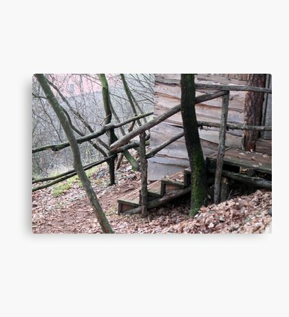 old wooden house in the forest Canvas Print