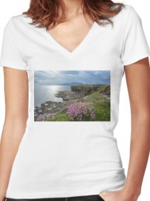 Muckross Head, Co. Donegal Women's Fitted V-Neck T-Shirt