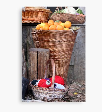 oranges and balls of wool Metal Print