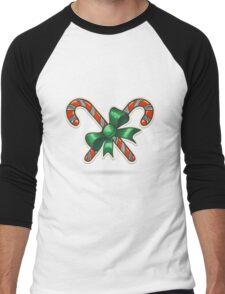 Paper Cut Candy Canes Emblem Men's Baseball ¾ T-Shirt