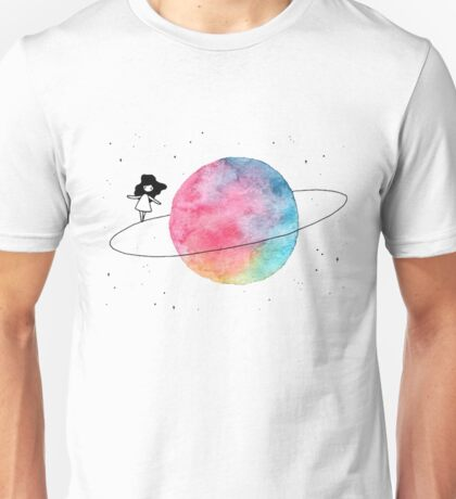 space girl - walking on planet Unisex T-Shirt