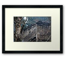 old wooden house in the forest Framed Print