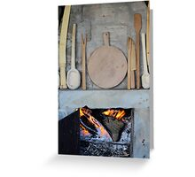 old fireplace with fire Greeting Card