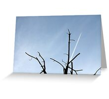 wake of aircraft in the sky Greeting Card
