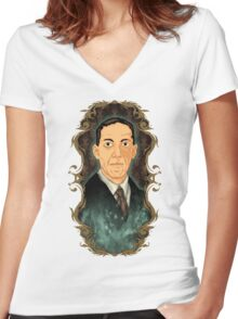 Hp Lovecraft Women's Fitted V-Neck T-Shirt