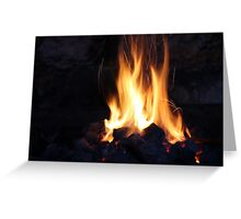 fire in the old stone fireplace Greeting Card