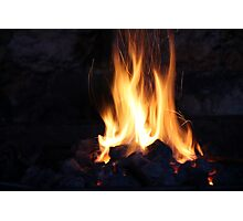 fire in the old stone fireplace Photographic Print