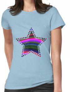 Rainbow Waves Fractal Art Womens Fitted T-Shirt