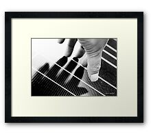 Hand Shadow on a Solar Panel Framed Print