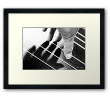 Hand Shadow on a Solar Panel Framed Print