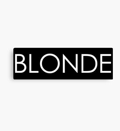 Blonde - White Typography on Black Canvas Print