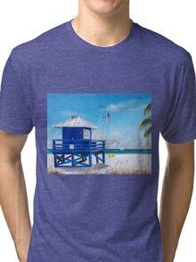Meet At Blue Lifeguard Stand Tri-blend T-Shirt