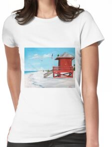 Red Lifeguard Stand On The Key Womens Fitted T-Shirt