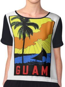 Guam Vintage Travel Decal Chiffon Top