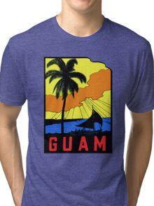 Guam Vintage Travel Decal Tri-blend T-Shirt