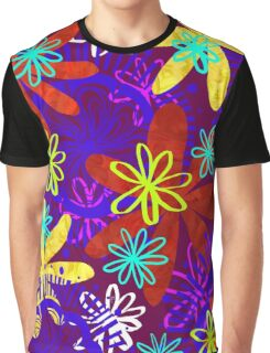 Flower Power on Maroon Graphic T-Shirt