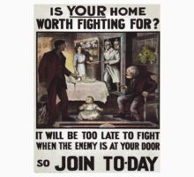 Vintage poster - Is Your Home Worth Fighting For? One Piece - Long Sleeve