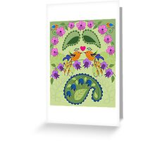 Love birds, flowers ad Paisley leaves Greeting Card