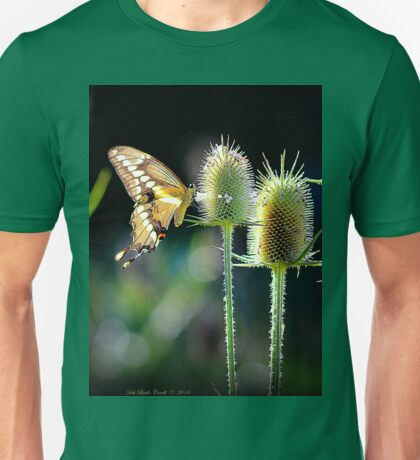 Giant Swallowtail Butterfly on a Teasel Unisex T-Shirt