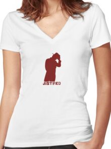 JUSTIFIED Women's Fitted V-Neck T-Shirt