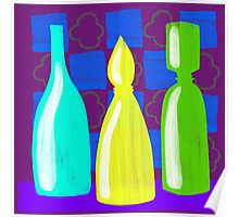 Moroccan Bottles on wine red walls Poster