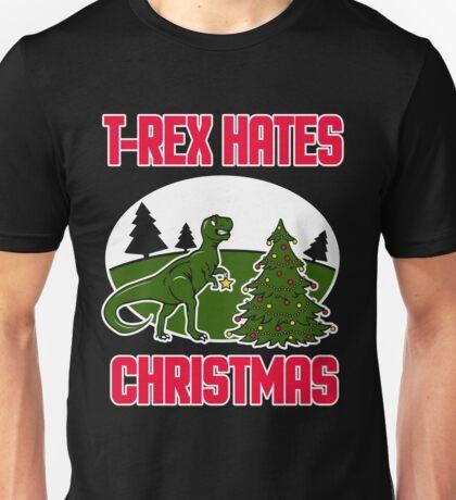 T-Rex Hates Christmas Dinosaur Gift T-Shirt Unisex T-Shirt