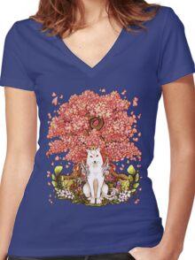 Amaterasu - Okami - Fox - T-Shirts - Gaming Women's Fitted V-Neck T-Shirt