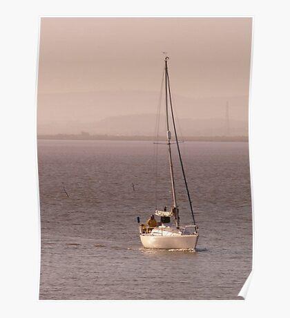 Yacht returning to the estuary, Burnham-on-Sea. Poster