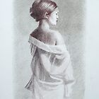 Nude in draped gown by Lynn Hughes