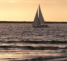 Boat at sea, Bunham-on-Sea (evening). by Antony R James