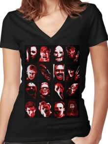 Horror Movie Icons Vector Art Women's Fitted V-Neck T-Shirt
