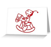 robot riding on rocking horse Greeting Card