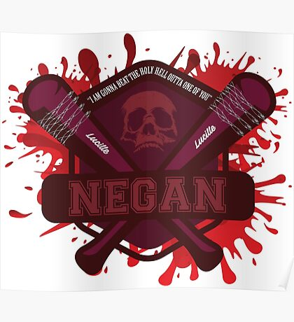 """Walking Dead Negan Blood Splatter  """"I'm gonna beat the Holy H*** Outa One Of You"""" Poster"""