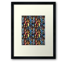 Pattern of different squid and fish Framed Print