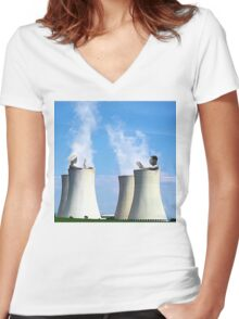 in a hot tub Women's Fitted V-Neck T-Shirt