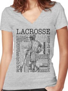 Word Montage-LACROSSE (Male) Women's Fitted V-Neck T-Shirt