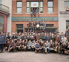 Harley Davidson gang and Bike Shop ca 1925 by Sanna Dullaway