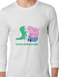dinosaur peppa pig best friends Long Sleeve T-Shirt