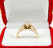 Diamond Engagement Ring in red box on white background Sticker