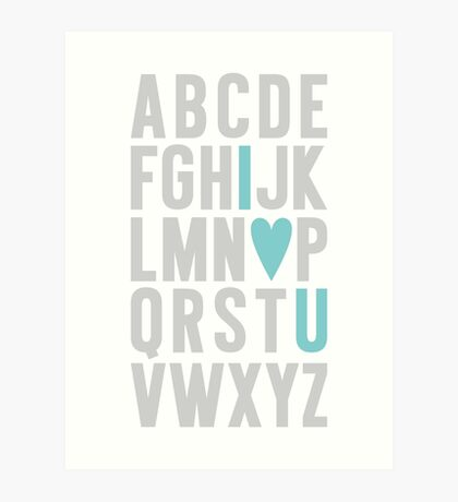 ABC I Love You Blue Art Print