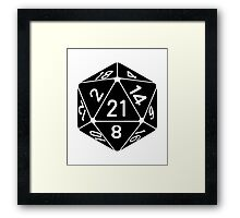 21 Sided 21st Birthday D20 Fantasy Gamer Die Framed Print