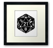 21 Sided 21st Birthday D20 Fantasy Gamer Die Framed Print