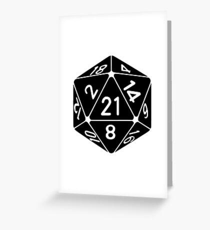 21 Sided 21st Birthday D20 Fantasy Gamer Die Greeting Card