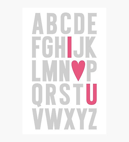 ABC I Love You Pink Photographic Print