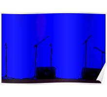 silhouette of microphones on an empty stage, dark blue background  Poster