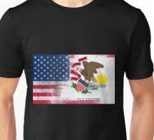Illinois American Flag Fusion Unisex T-Shirt